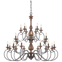 Auburn 24 Light 48 inch Rustic Black Foyer Chandelier Ceiling Light