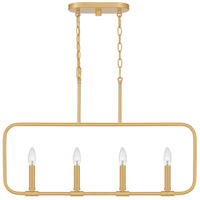Quoizel ABR432AB Abner 4 Light 32 inch Aged Brass Linear Chandelier Ceiling Light