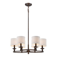 Adams 6 Light 25 inch Leathered Bronze Chandelier Ceiling Light