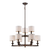 Adams 9 Light 29 inch Leathered Bronze Foyer Chandelier Ceiling Light