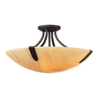 Arcadia 4 Light 20 inch Imperial Bronze Semi-Flush Mount Ceiling Light, Naturals