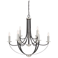 Alana 9 Light 32 inch Mystic Black Chandelier Ceiling Light, Two Tier