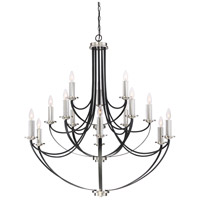 Alana 15 Light 41 inch Mystic Black Chandelier Ceiling Light, Three Tier
