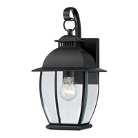 Quoizel Bain 1 Light Outdoor Wall Lantern in Mystic Black BAN8407KFL