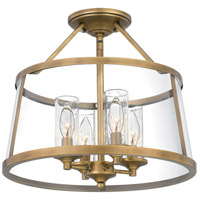 Quoizel BAW1716WS Barlow 4 Light 16 inch Weathered Brass Semi-Flush Mount Ceiling Light