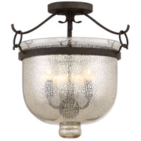 Burgess 3 Light 15 inch Rustic Black Semi-Flush Mount Ceiling Light