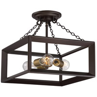 Quoizel BKH1714WT Brook Hall 3 Light 14 inch Western Bronze Semi-Flush Mount Ceiling Light