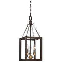 Quoizel BKH5303WT Brook Hall 3 Light 10 inch Western Bronze Mini Chandelier Ceiling Light