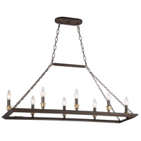 Quoizel BKH838WT Brook Hall 8 Light 38 inch Western Bronze Island Chandelier Ceiling Light