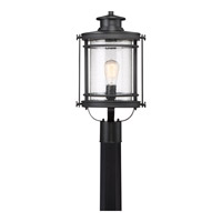Booker 1 Light 20 inch Mystic Black Post Lantern in CFL Spring Self-Ballasted GU 24, Aluminum