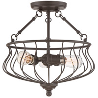 Quoizel BNS1715WT Baroness 3 Light 15 inch Western Bronze Semi-Flush Mount Ceiling Light
