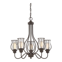 Quoizel BNS5005WT Baroness 5 Light 25 inch Western Bronze Chandelier Ceiling Light