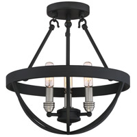 Basin 3 Light 14 inch Earth Black Semi-Flush Mount Ceiling Light