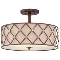 Brown Lattice 3 Light 17 inch Copper Canyon Semi-Flush Mount Ceiling Light