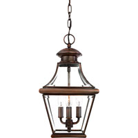 Quoizel Lighting Carleton 3 Light Outdoor Hanging Lantern in Aged Copper CAR1801AC