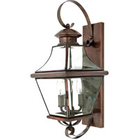 Quoizel Lighting Carleton 3 Light Outdoor Wall Lantern in Aged Copper CAR8729AC