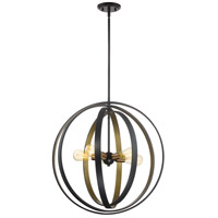 Quoizel CCT2824WT Circuit 5 Light 24 inch Western Bronze Pendant Ceiling Light