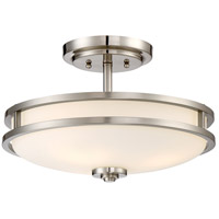 Cadet 3 Light 15 inch Brushed Nickel Semi-Flush Mount Ceiling Light
