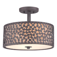 Confetti 2 Light 14 inch Rustic Black Semi-Flush Mount Ceiling Light