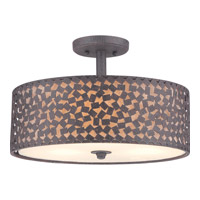 Confetti 3 Light 17 inch Rustic Black Semi-Flush Mount Ceiling Light