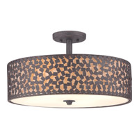 Confetti 4 Light 20 inch Rustic Black Semi-Flush Mount Ceiling Light