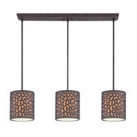 Confetti 3 Light 40 inch Rustic Black Island Chandelier Ceiling Light