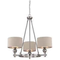 Metro 3 Light 34 inch Brushed Nickel Chandelier Ceiling Light