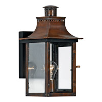 Quoizel Chalmers 1 Light Outdoor Wall Lantern in Aged Copper CM8408ACFL