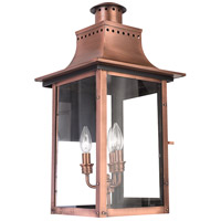 Quoizel Lighting Chalmers 3 Light Outdoor Wall Lantern in Aged Copper CM8412AC