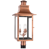 Quoizel Lighting Chalmers 3 Light Outdoor Post Lantern in Aged Copper CM9012AC