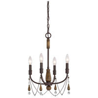 Concord 4 Light 14 inch Tuscan Brown Mini Chandelier Ceiling Light