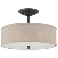 Cloverdale 3 Light 17 inch Mottled Cocoa Semi-Flush Mount Ceiling Light