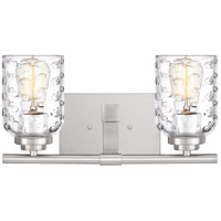 Cristal 2 Light 14 inch Brushed Nickel Vanity Light Wall Light