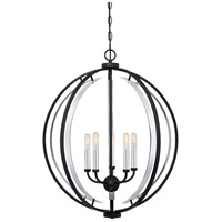 Concert 5 Light 24 inch Earth Black Pendant Ceiling Light