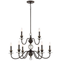 Quoizel CRY5009PN Ceremony 9 Light 32 inch Palladian Bronze Chandelier Ceiling Light, Two Tier