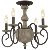 Castile 4 Light 18 inch Rustic Black Semi-Flush Mount Ceiling Light