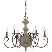 Castile 6 Light 29 inch Rustic Black Chandelier Ceiling Light