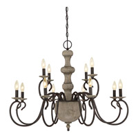 Castile 12 Light 36 inch Rustic Black Foyer Piece Ceiling Light