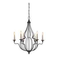 Quoizel Canyon 6 Light Chandelier in Mottled Black CYN5006MB