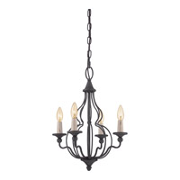 Quoizel Canyon 4 Light Chandelier in Mottled Black CYN5304MB