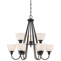 Dublin 9 Light 32 inch Mystic Black Chandelier Ceiling Light, Two Tier
