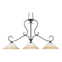 Quoizel DH348PN Duchess 3 Light 48 inch Palladian Bronze Island Light Ceiling Light in Champagne Marble Glass