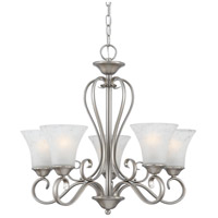 Quoizel DH5005AN Duchess 5 Light 25 inch Antique Nickel Chandelier Ceiling Light in Grey Marble Glass