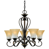 Quoizel DH5005PN Duchess 5 Light 25 inch Palladian Bronze Chandelier Ceiling Light in Champagne Marble Glass