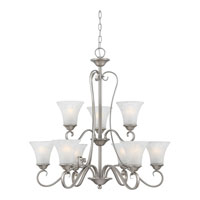 Quoizel DH5009AN Duchess 9 Light 31 inch Antique Nickel Chandelier Ceiling Light in Grey Marble Glass alternative photo thumbnail