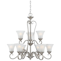 Quoizel DH5009AN Duchess 9 Light 31 inch Antique Nickel Chandelier Ceiling Light in Grey Marble Glass