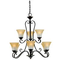 Quoizel DH5009PN Duchess 9 Light 31 inch Palladian Bronze Chandelier Ceiling Light in Champagne Marble Glass