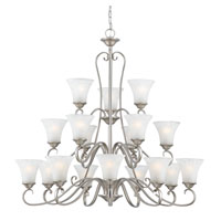 Quoizel DH5018AN Duchess 18 Light 41 inch Antique Nickel Chandelier Ceiling Light in Grey Marble Glass