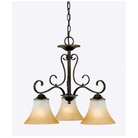 Duchess 3 Light 23 inch Palladian Bronze Chandelier Ceiling Light in Champagne Marble Glass