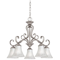 Duchess 5 Light 25 inch Antique Nickel Chandelier Ceiling Light in Grey Marble Glass